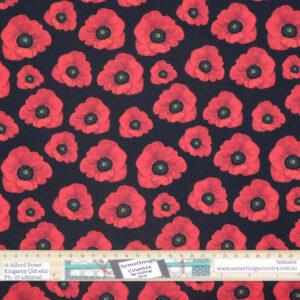 Quilting Sewing Fabric ANZAC REMEMBERING POPPIES Material 50x55cm FQ
