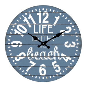 Clock French Country Wall 30cm LIFE IS BETTER AT BEACH Glass