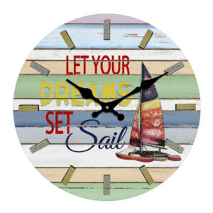 Clock French Country Wall 30cm DREAMS SET SAIL Glass