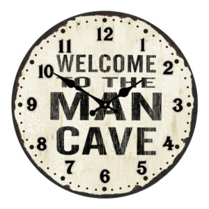 Clock French Country Vintage Look Wall MAN CAVE Glass 30cm