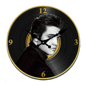 Clock French Country Vintage Look Wall ELVIS GOLD RECORD 30cm