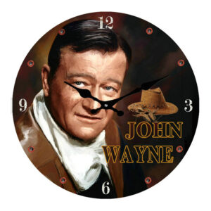 Clock French Country Vintage Look Wall JOHN WAYNE Glass 30cm