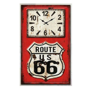 Clock French Country Vintage Look Wall ROUTE 66 Glass 25x60cm