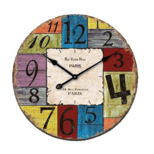 Clock French Country Vintage Look Wall VICTOR HUGO Glass 30cm