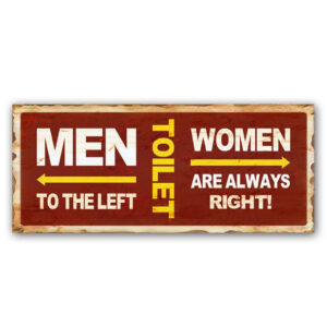 Country Metal Tin Sign Wall Art TOILET WOMEN RIGHT Plaque Rustic