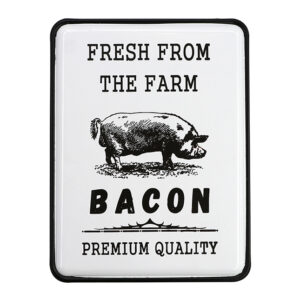 Country Metal Enamel Farmhouse Sign BACON FROM THE FARM Plaque