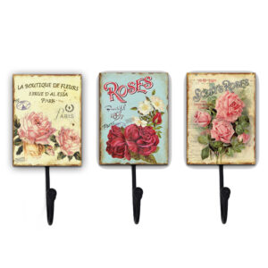 Country Metal Tin Sign Wall Art Set 3 Roses Hooks Plaques