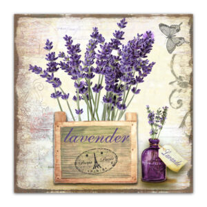 Country Metal Tin Sign Wall Art LAVENDER PLANTER Plaque Rustic