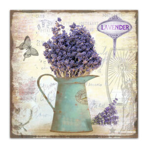 Country Metal Tin Sign Wall Art LAVENDER JUG Plaque Rustic