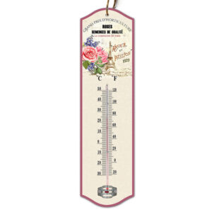 Country Metal Tin Sign Wall Art ROSES PARIS THERMOMETER Plaque