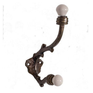 French Country Vintage Look Wrought Iron Set 2 Hooks for Hats