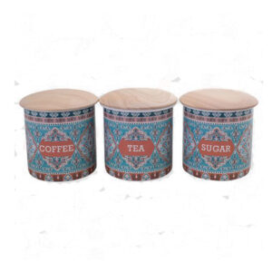 Farmhouse Metal Enamel Retro Kitchen Canisters EZRA Blue Set of 3