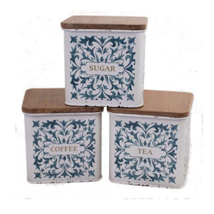 Farmhouse Metal Enamel Retro Kitchen Canisters BLUE WHITE SQUARE Set 3
