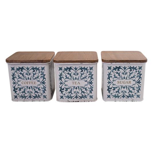 Farmhouse Metal Enamel Retro Kitchen Canisters BLUE WHITE SQUARE Set 3
