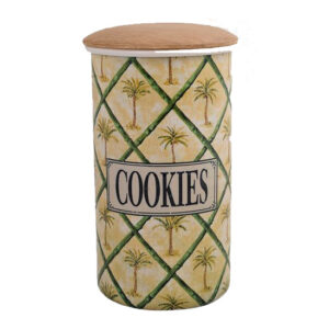 Metal Enamel Retro Kitchen Tall Canister COOKIES PALM Biscuit Tin