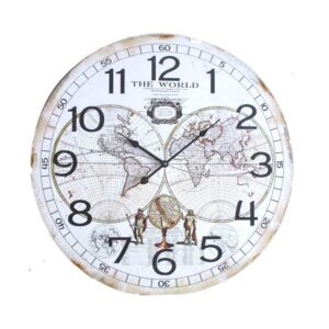 Clock French Country Vintage Inspired Wall 60cm WORLD MAP MDF