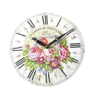 Clock French Country Wall 28cm LE JARDIN FLORAL MDF New