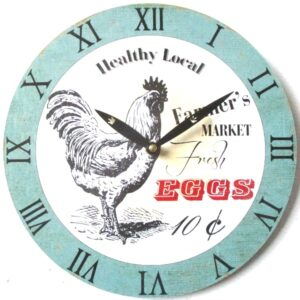 Clock French Country Wall 28cm CHICKEN FRESH EGGS MDF