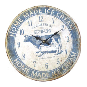 French Country Chic Retro ICECREAM COW Wall Clock 34cm MDF