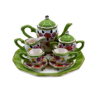 Kitchen Miniature Tea Set Green Cups Saucers Jug Plate Sugar Creamer