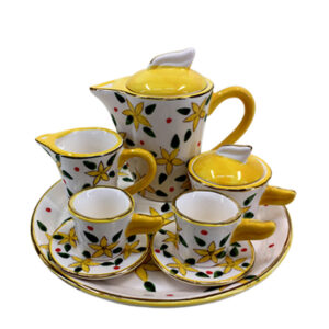 Kitchen Miniature Tea Set Yellow Cups Saucers Jug Plate Sugar Creamer