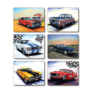 Country Kitchen MUSCLE CARS Cinnamon Cork Back Placemats Set 6