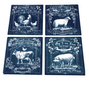 Country Farmhouse Resin Tile Trivet Farm Animals Assorted Hot Pot Holder