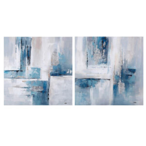 French Country Canvas Abstract Set of 2 Blue Grey Prints 80x80cm