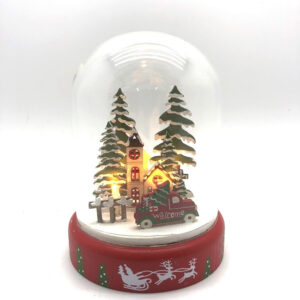 Christmas Santa Ornaments Xmas CHURCH LED Light Up Dome