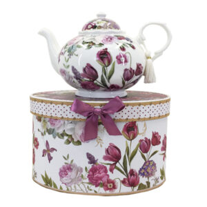 French Country Lovely Kitchen Tea Pot RED TULIP China Teapot