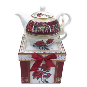 French Country Lovely Kitchen Tea For One RED ROSE China Teapot