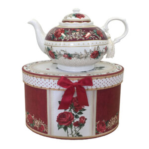 French Country Lovely Kitchen Tea Pot RED ROSE China Teapot