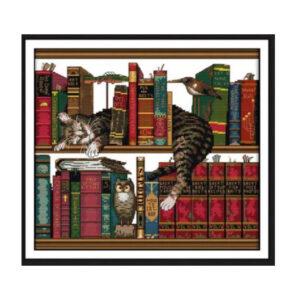 Cross Stitch Kit LIBRARY CAT X Stitch Joy Sunday Designs Incl Threads