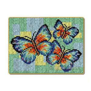 Crafting Kit THREE BUTTERFLIES Latch Hook with Canvas Mat Hook Threads