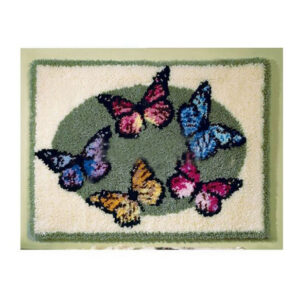 Crafting Kit FIVE BUTTERFLIES Latch Hook with Canvas Mat Hook Threads