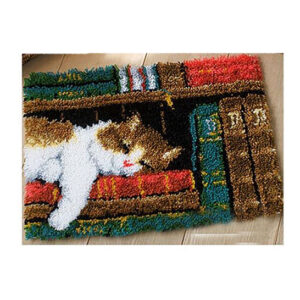 Crafting Kit LIBRARY CAT Latch Hook with Canvas Mat Hook Threads