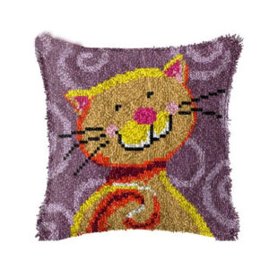 Crafting Kit PURPLE CAT Latch Hook with Cushion Hook and Threads