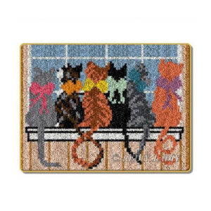 Crafting Kit CAT BACKS Latch Hook with Canvas Mat Hook Threads