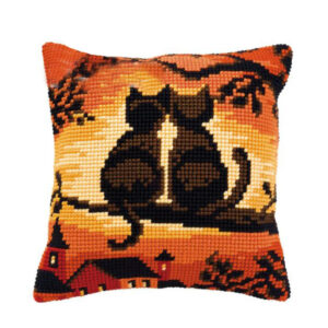 Crafting Kit SUNSET CATS Cross Stitch Cushion Inc Canvas and Thread