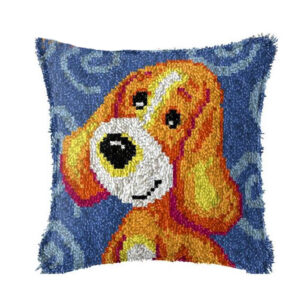 Crafting Kit BLUE DOG Latch Hook with Cushion Hook and Threads