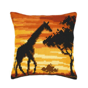Crafting Kit SUNSET GIRAFFE Cross Stitch Cushion Inc Canvas and Thread