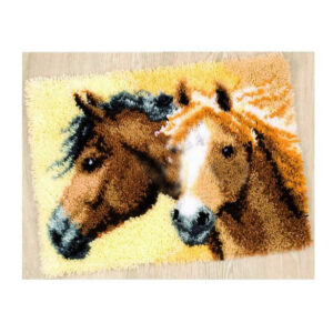 Crafting Kit HORSE HEADS Latch Hook with Canvas Mat Hook Threads