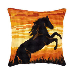 Crafting Kit SUNSET HORSE Cross Stitch Cushion Inc Canvas and Thread