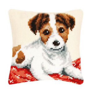 Crafting Kit JACK RUSSELL DOG Cross Stitch Cushion Inc Canvas and Thread