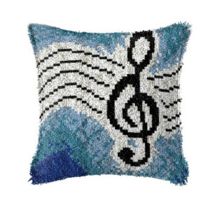 Crafting Kit MUSIC NOTES Latch Hook with Cushion Hook and Threads
