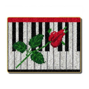 Crafting Kit PIANO ROSE Latch Hook with Canvas Mat Hook Threads