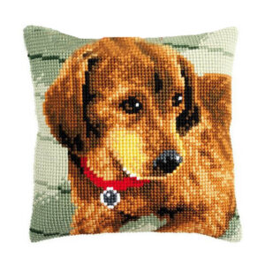 Crafting Kit SAUSAGE DOG Cross Stitch Cushion Inc Canvas and Thread