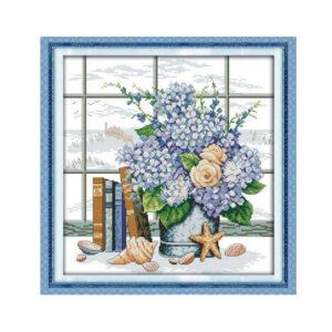 Cross Stitch Kit HYDRANGEAS X Stitch Joy Sunday Designs Incl Threads