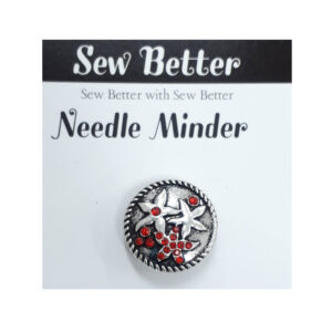 Sew Better Cross Stitch Needle Minder Keeper FLOWER RED STONES