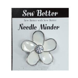 Sew Better Cross Stitch Needle Minder Keeper WHITE FLOWER